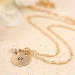 Dainty Initial with Swarovski Pearl Hand Stamped Necklace