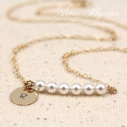 Personalized Initial with Dainty Pearl Necklace