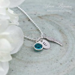 Personalized Guardian Angel Wing Necklace