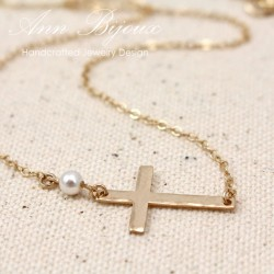Gold Filled Hammered Sideways Cross Necklace