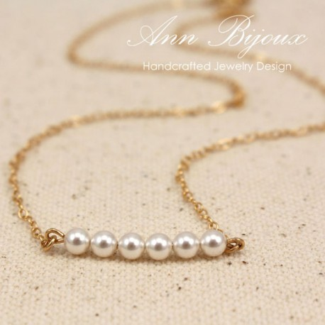 Personalized Delicate Pearl Gold Filled Necklace
