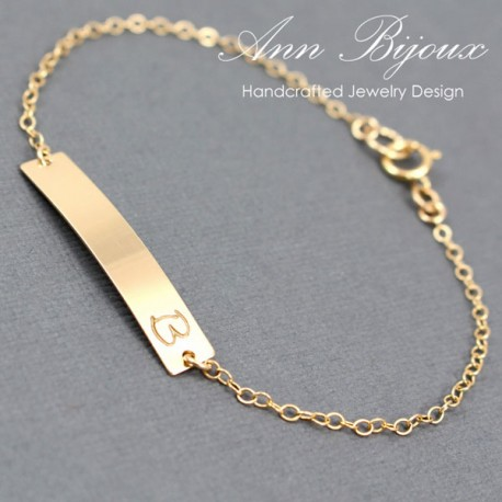 Gold Filled Customized Name Plate ID Bracelet