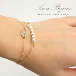 Delicate Set of 2 Gold Filled Layered Bracelets