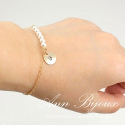 Personalized Gold Filled Initial with Pearl Bracelet