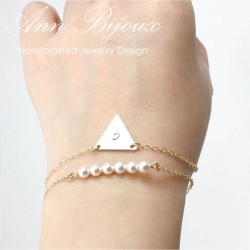 Set of 2 Gold Filled Triangle Initial and Pearl Layered Bracelets