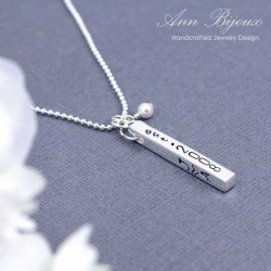 Personalized 4 sided Sterling Silver Bar Pendant Necklace