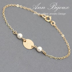 Bridesmaid Initial with Pearl Gold Bracelet