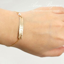 Customized Gold Filled Hammered Name Plate Bracelet