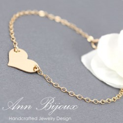 Charlize Theron Replica Gold Filled Dainty Heart Bracelet