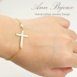 Delicate Gold Filled Sideways Cross Bracelet