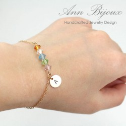 Gold Filled Initial with Faceted Birthstone Bracelet