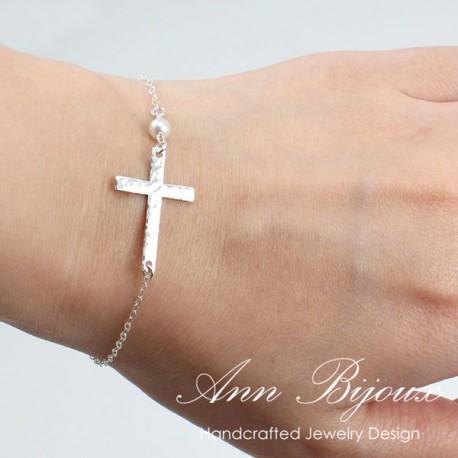 Delicate Sterling Silver Sideways Cross Bracelet