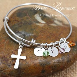 Sterling Silver Cross Charm with Hand Stamped Initial Bangle