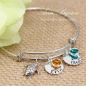 Turtle Charm with Hand Stamped Name Bangle Bracelet