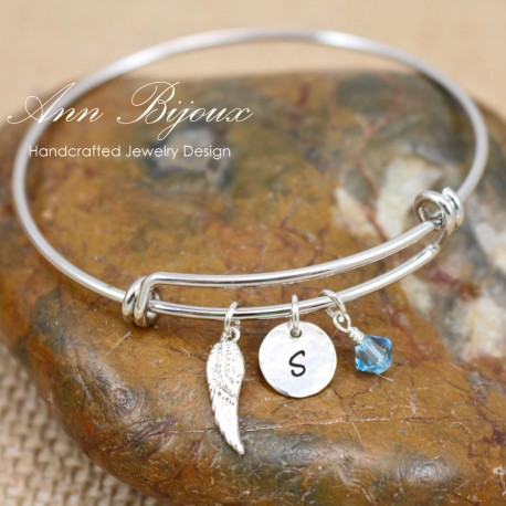 Hand Stamped Initial with  Angel Wing Charm Bangle Bracelet
