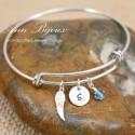 Hammered Initial with  Angel Wing Charm Bangle Bracelet