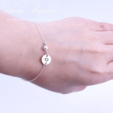Hand Stamped Dainty Initial with Pearl Bridesmaid Bracelet