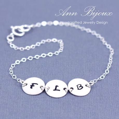 Personalized Stamped Initial Link Bracelet