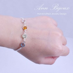 Custom Crystal Birthstone Sterling Silver Bracelet