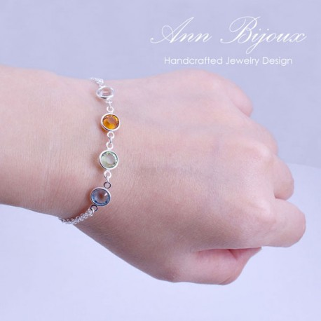 Custom Crystal Birthstone Sterling Silver Bracelet