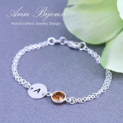 Personalized Sterling Silver Initial with Birthstone Bracelet