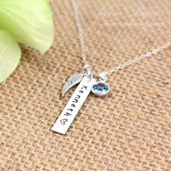 Personalized Sterling Silver Bar Angel Wing Necklac