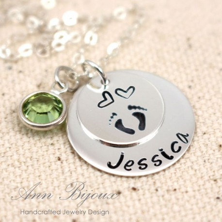 Hand Stamped Baby Footprint with Birthstone Necklace