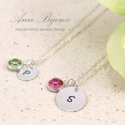 Mother and Daughters Hand Stamped Initial Necklace