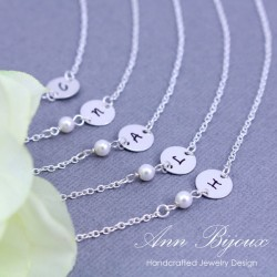 Delicate Hand Stamped Initial with Pearl Bridesmaid Necklace