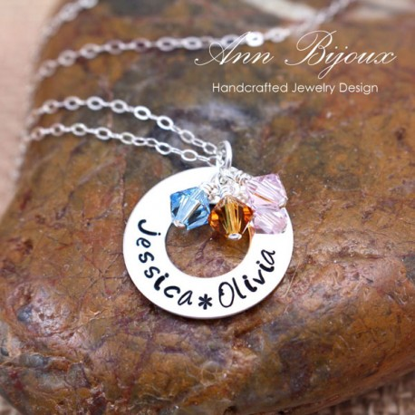Customized Hand Stamped Name Mothers Necklace