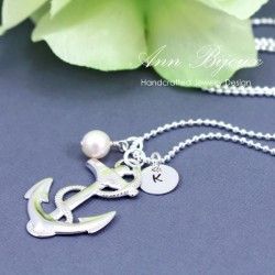 Personalized Hand Stamped Initial with Anchor Charm Necklace