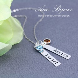 Personalized Hand Stamped Name with Birthstone Necklace